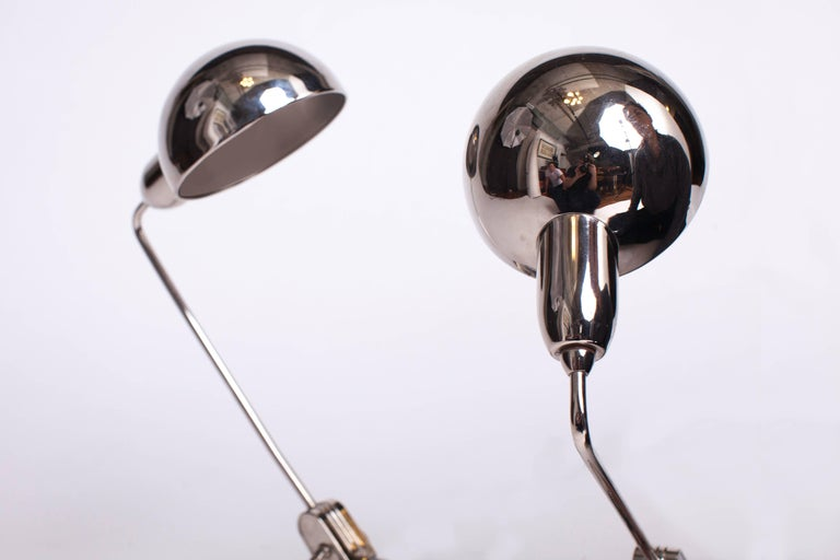French Charlotte Perriand Selected Pair of Jumo 600 Chrome Table Lamps, France c. 1949 For Sale