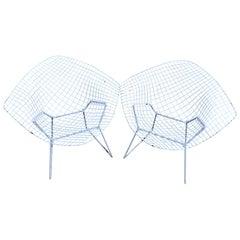 Iconic Pair of Mid-Century Modern Bertoia Diamond Chairs