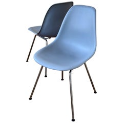 Iconic Pair of Molded Plastic Chairs Designed by Charles Eames for Herman Miller