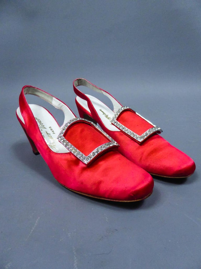 Red Iconic Pair of Roger Vivier Pumps  Circa 1970 For Sale