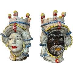 Iconic Pair of Sicilian Ceramic Heads from Caltagirone