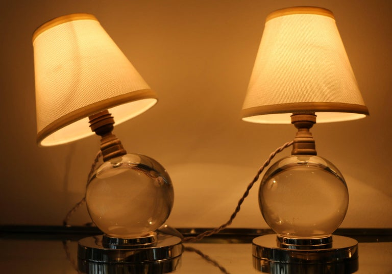 French Iconic Pair of Table Lamps by Jacques Adnet and Baccarat, Art Deco, 1930s For Sale
