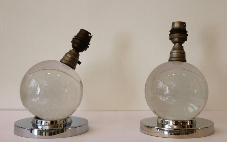 Iconic Pair of Table Lamps by Jacques Adnet and Baccarat, Art Deco, 1930s In Good Condition For Sale In Paris, FR
