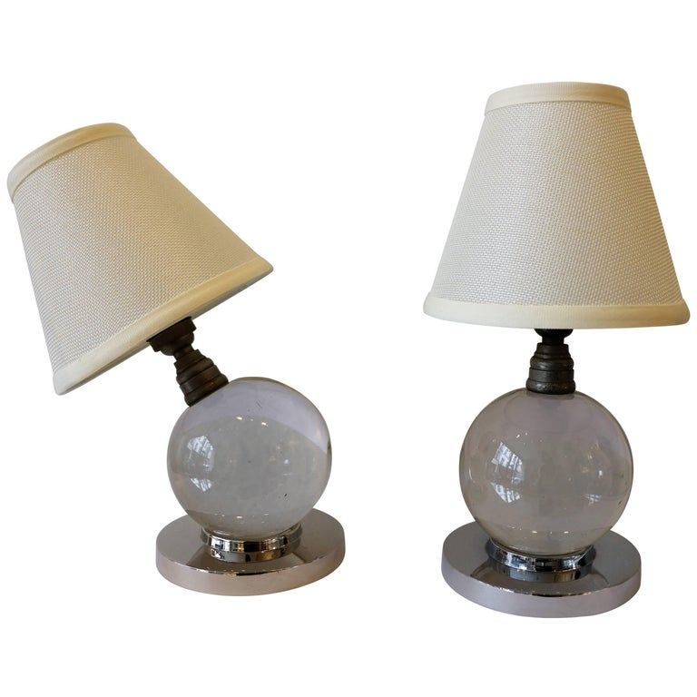 Iconic Pair of Table Lamps by Jacques Adnet and Baccarat, Art Deco, 1930s For Sale