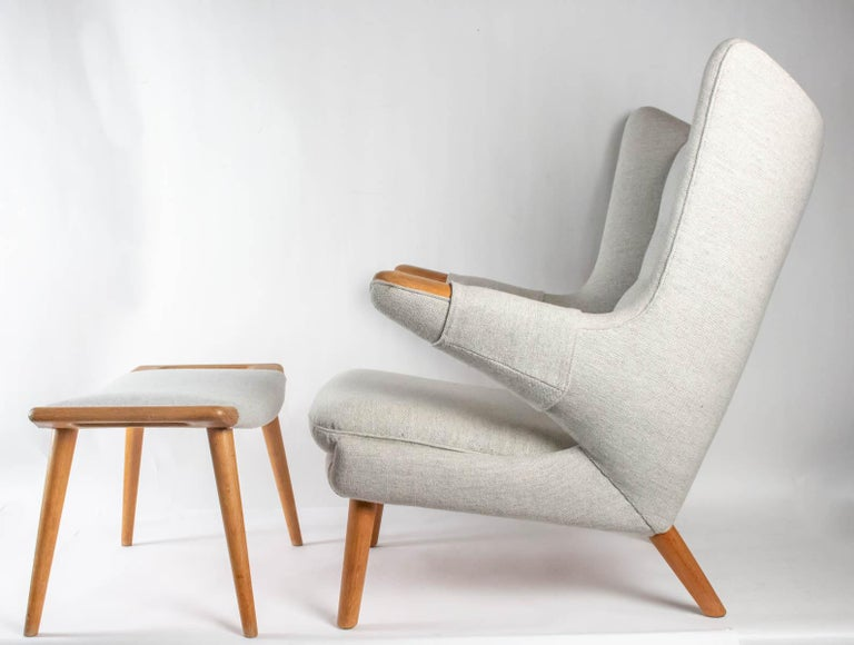 Iconic Papa Bear armchair with matching ottoman, for AP Stolen, Denmark, Hans Wegner, 1960s Original frame  Reupholstered in Fabric similar to original by Peer Brohl Mobelpolstring (original upholsterer) Armchair: Dimension: H 96 cm, D 92cm, W
