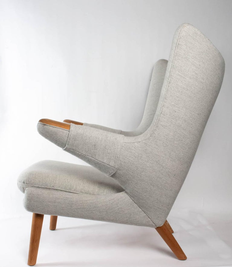 Mid-20th Century Iconic Papa Bear Armchair with Matching Ottoman, Denmark, Hans Wegner, 1960s For Sale