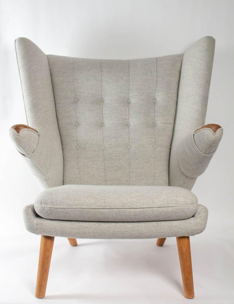 Iconic Papa Bear Armchair with Matching Ottoman, Denmark, Hans Wegner, 1960s For Sale 2