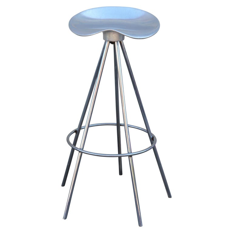 A set of 3 Jamaica chrome and aluminum bar stools by Pepe Cortes (Designer) made in Spain.  The Jamaica stool is already a Classic in Spanish design and is one of the best designed stools in all history. It's been on the market for over 25 years and
