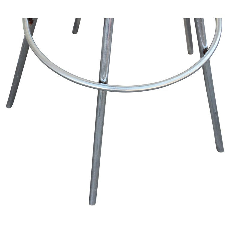 Iconic Pepe Cortes Contemporary 'Jamaica' Chrome and Aluminum Bar Stools In Good Condition In Houston, TX