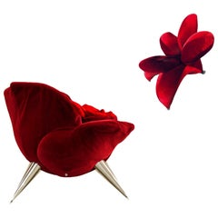 Iconic Postmodern Red Rose & Lily Lounge Chair Set Masanori Umeda for Edra, 1990