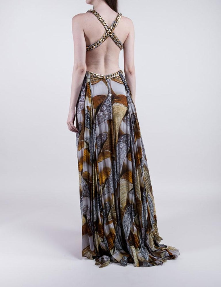 Gray Iconic ROBERTO CAVALLI Chain Embellished Long Silk Dress  For Sale