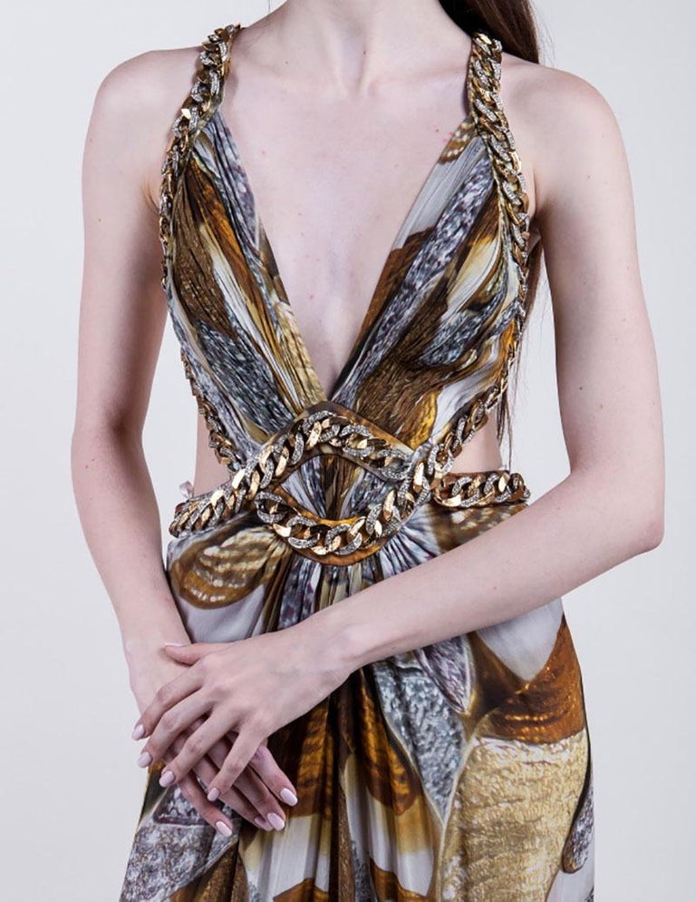 Iconic ROBERTO CAVALLI Chain Embellished Long Silk Dress  In Excellent Condition For Sale In Montgomery, TX