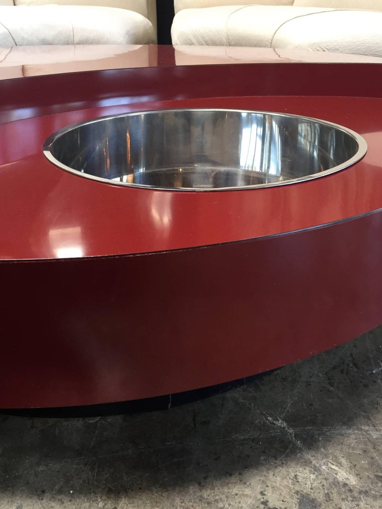 Italian Iconic Round Red Coffee Table by Willy Rizzo, Italy, 1970s For Sale