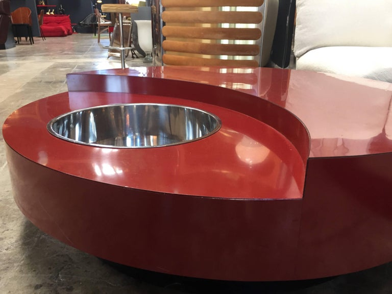 Late 20th Century Iconic Round Red Coffee Table by Willy Rizzo, Italy, 1970s For Sale