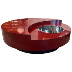Iconic Round Red Coffee Table by Willy Rizzo, Italy, 1970s