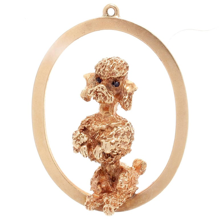 Iconic Ruser Poodle Sapphire Gold Pendant