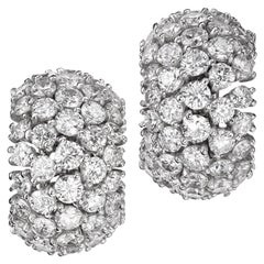 Iconic Sabbadini Style Platinum and Diamonds Earrings