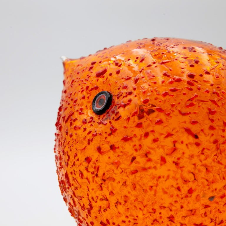 Iconic Space Age Vistosi Murano Orange Pulcino Glass Bird by Alessandro Pianon In Good Condition For Sale In Brussels, BE