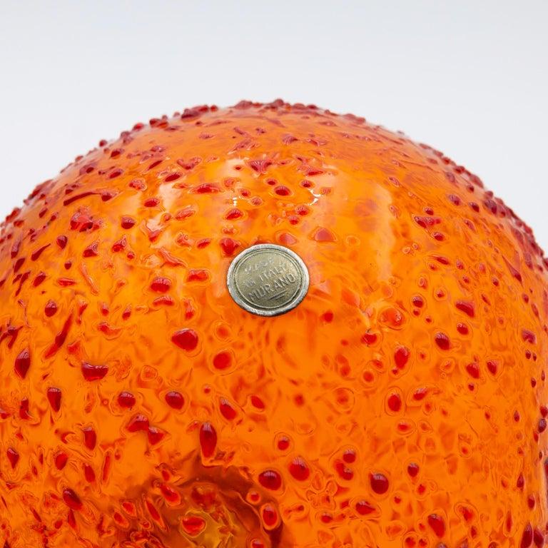 Art Glass Iconic Space Age Vistosi Murano Orange Pulcino Glass Bird by Alessandro Pianon For Sale