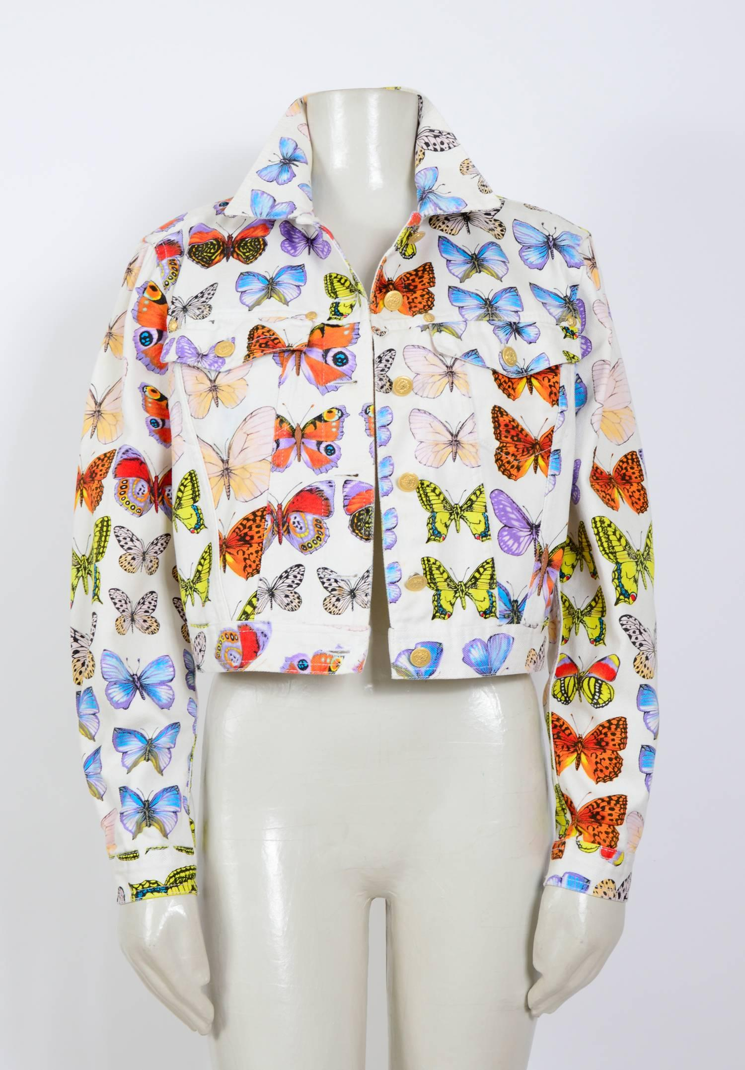 Versace jeans signature butterfly print jacket, S   S 1995 For Sale at  1stdibs 1ac2a8ac274