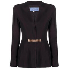 Iconic Thierry Mugler Brown Red Suit Jacket and Asymmetric Long Skirt