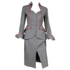 Iconic Thierry Mugler Couture Grey Suit Jacket and Skirt