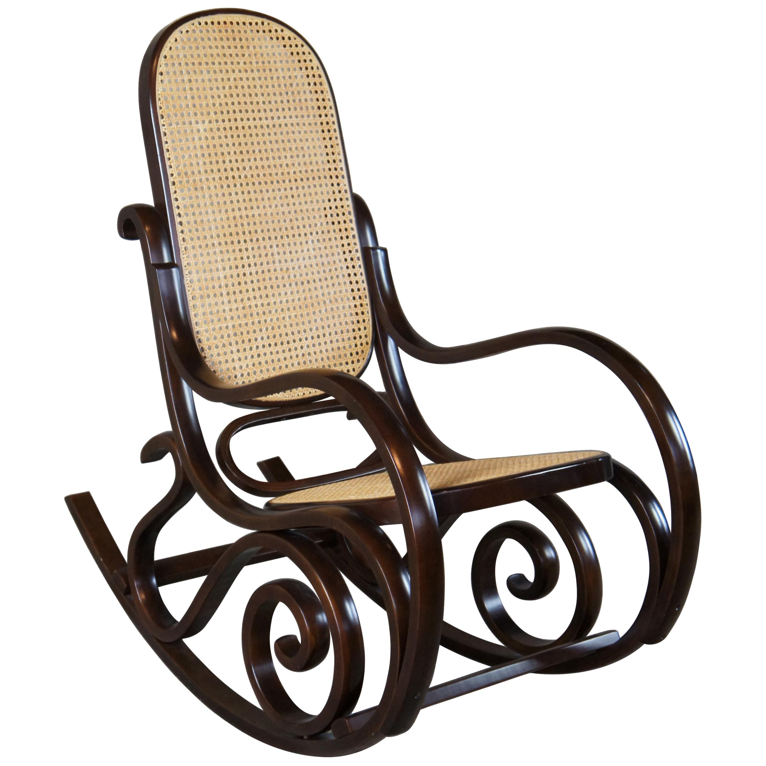 Iconic Thonet Style Bentwood Rocking Chair Natural Cane Rattan Seat Back Rocker