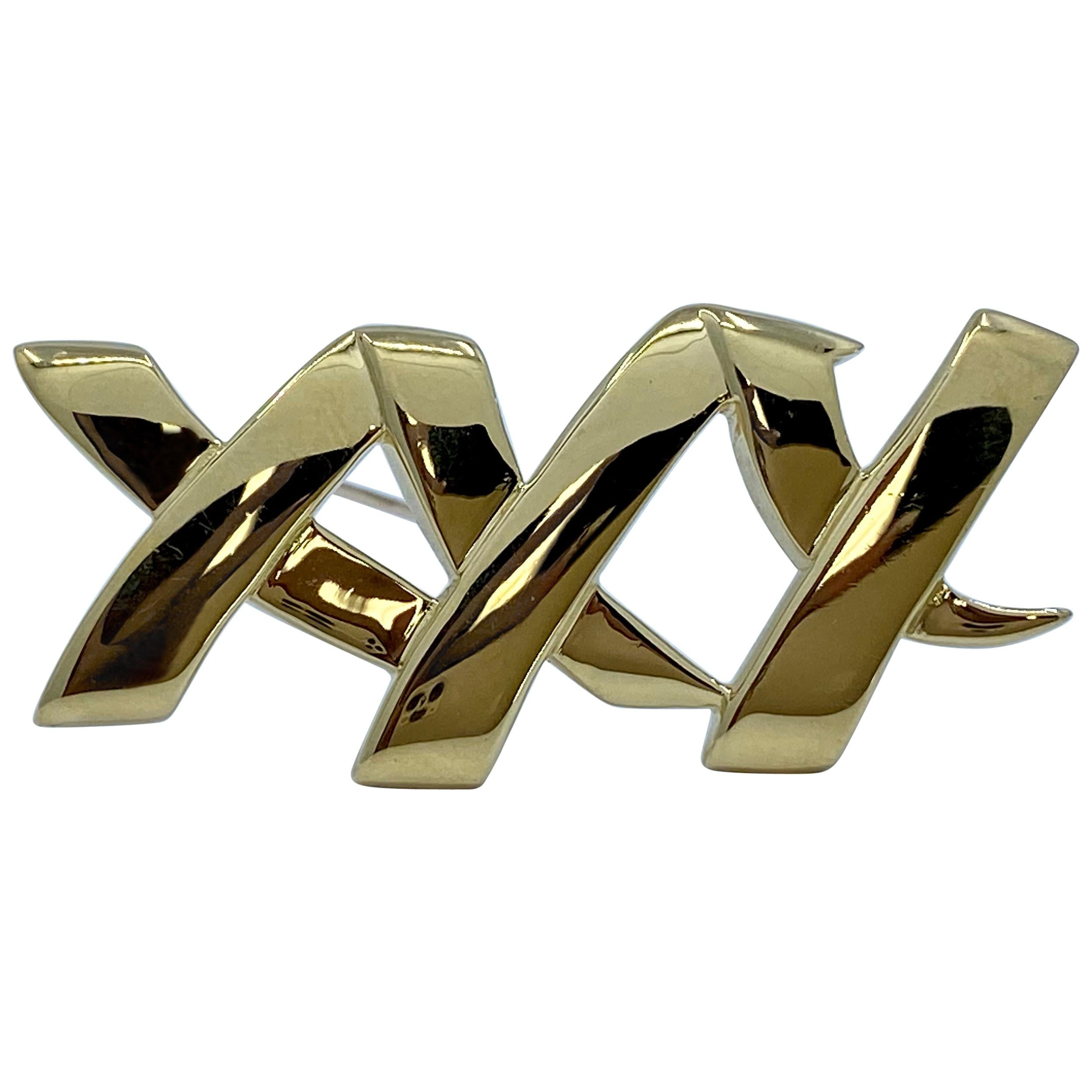 Iconic Tiffany & Co Paloma Picasso XXX Kisses Brooch Pin in 18 Karat Yellow Gold