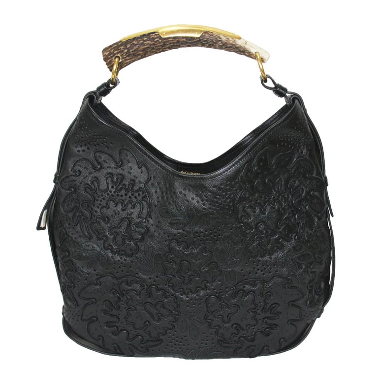 Iconic Tom Ford for Yves Saint Laurent Mombasa Black Embellished Leather Bag In New Condition For Sale In Montgomery, TX