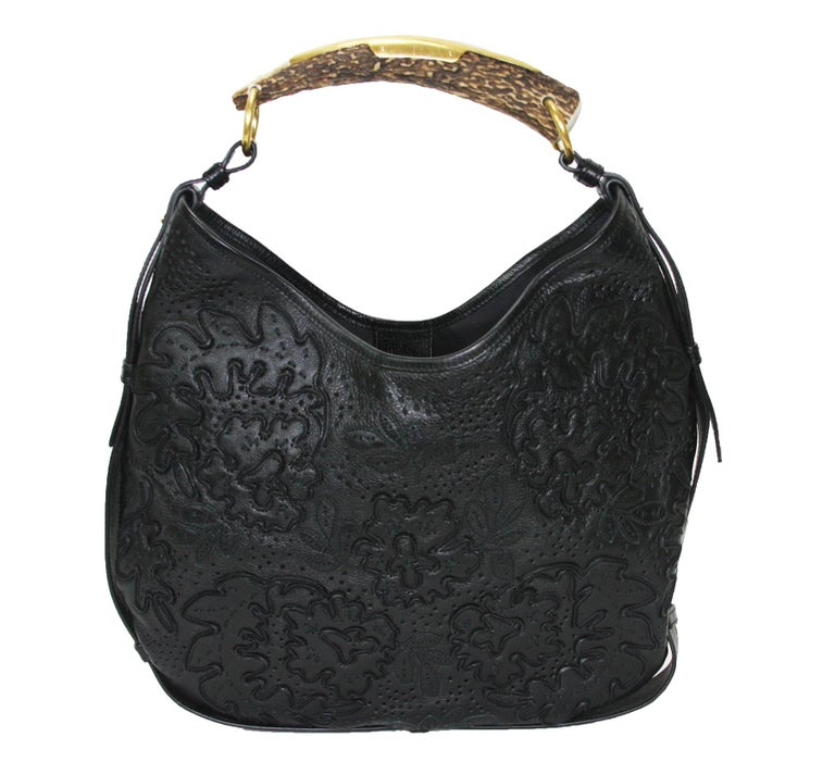 Women's Iconic Tom Ford for Yves Saint Laurent Mombasa Black Embellished Leather Bag For Sale