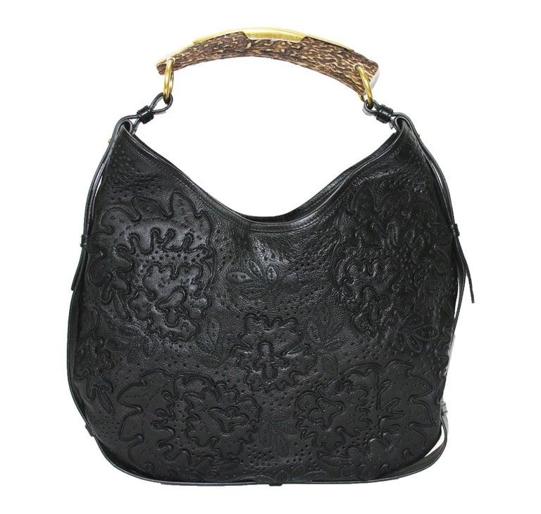 Iconic Tom Ford for Yves Saint Laurent Mombasa Black Embellished Leather Bag For Sale 1