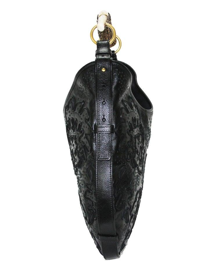 Iconic Tom Ford for Yves Saint Laurent Mombasa Black Embellished Leather Bag For Sale 2