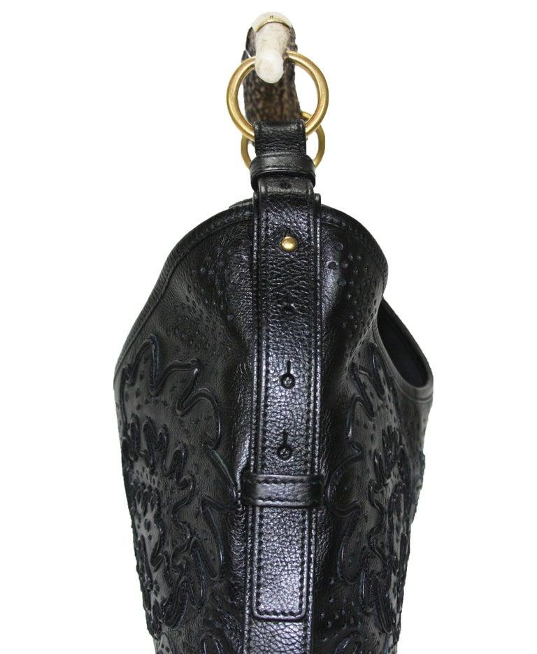 Iconic Tom Ford for Yves Saint Laurent Mombasa Black Embellished Leather Bag For Sale 3