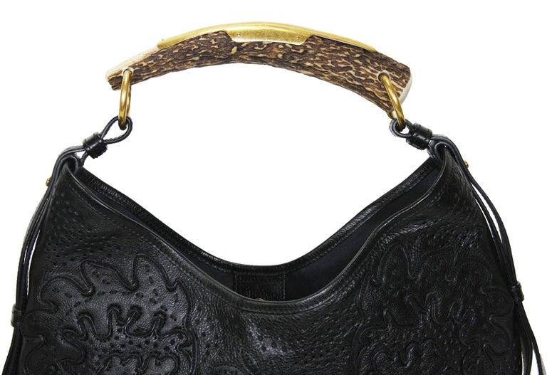 Iconic Tom Ford for Yves Saint Laurent Mombasa Black Embellished Leather Bag For Sale 4