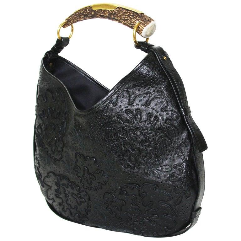 Iconic Tom Ford for Yves Saint Laurent Mombasa Black Embellished Leather Bag For Sale