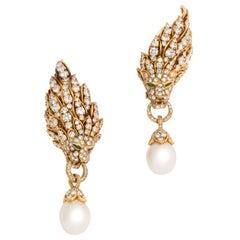 Iconic Van Cleef & Arpels Pearl and Diamond Lion Head Earrings