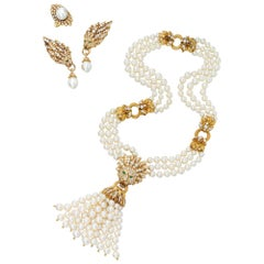 Iconic Van Cleef & Arpels Pearl and Diamond Lion Necklace, Earrings and Ring Set