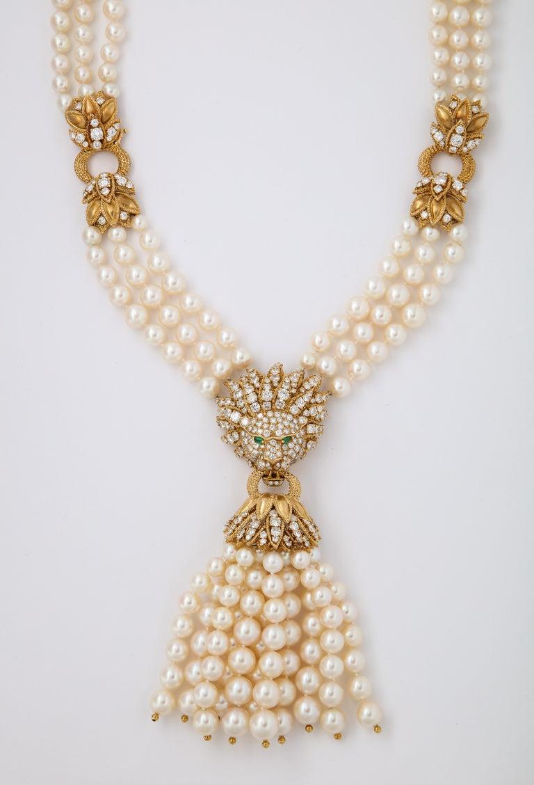 Van Cleef & Arpels Pearl & Diamond Lion Necklace  Measurements: 21