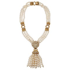Iconic Van Cleef & Arpels Pearl and Diamond Lion Tassel Necklace