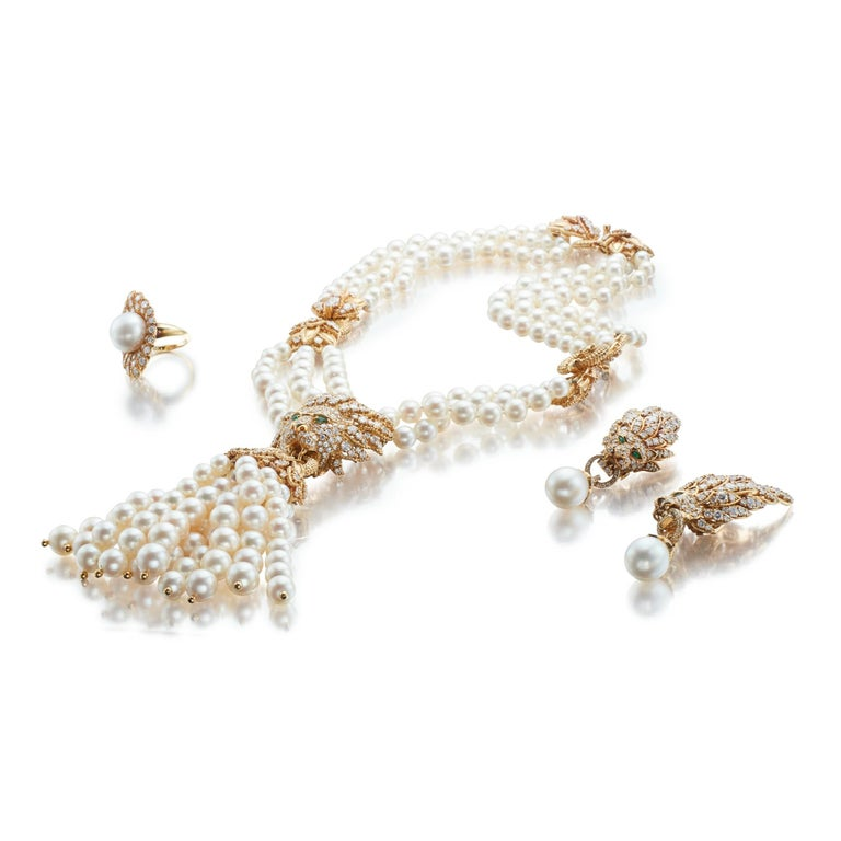 Iconic Van Cleef & Arpels Pearl and Diamond Lion Necklace, Earrings and Ring Set 1