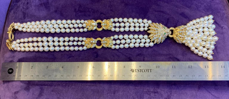 Iconic Van Cleef & Arpels Pearl and Diamond Lion Tassel Necklace For Sale 5