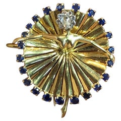 Iconic Van Cleef & Arpels Sapphire and Diamond Ballerina Brooch
