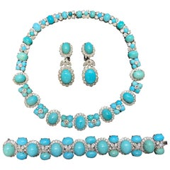 Van Cleef & Arpels Turquoise Necklace Earrings and Bracelet Set