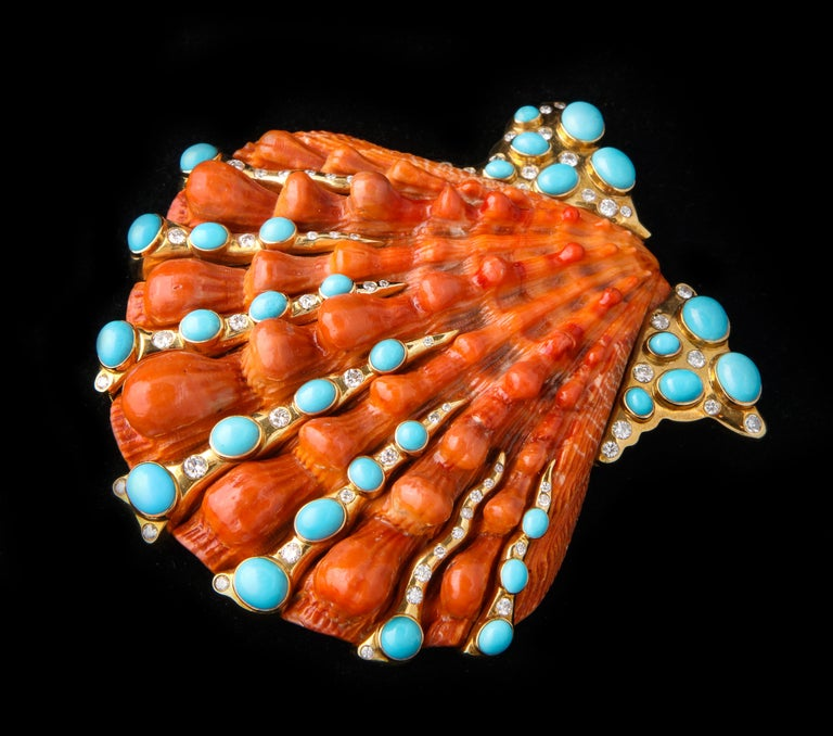 Iconic Certified Fulco Di Verdura Shell Brooch For Sale 1