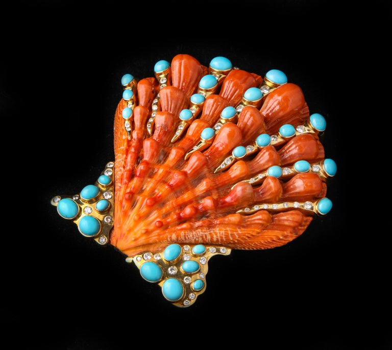 Iconic Certified Fulco Di Verdura Shell Brooch For Sale 2