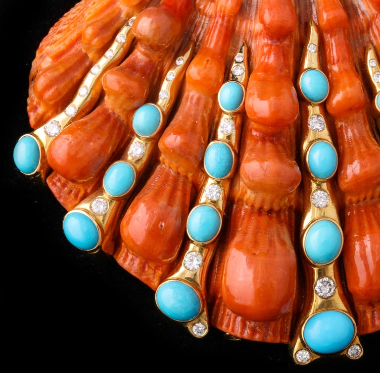 Iconic Certified Fulco Di Verdura Shell Brooch For Sale 3