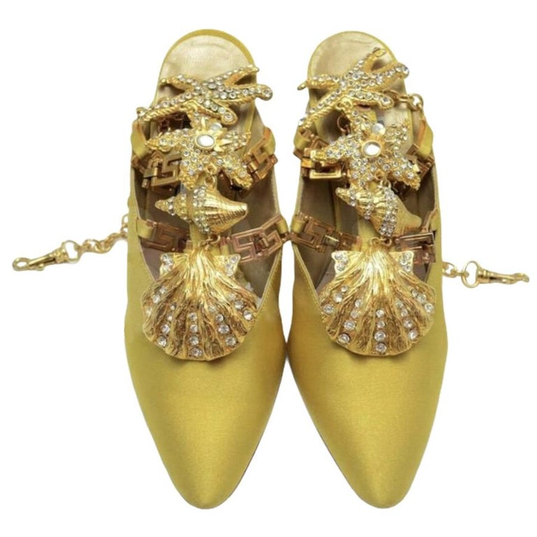 Iconic Vintage 1992 Gianni Versace Embellished Shoes  For Sale