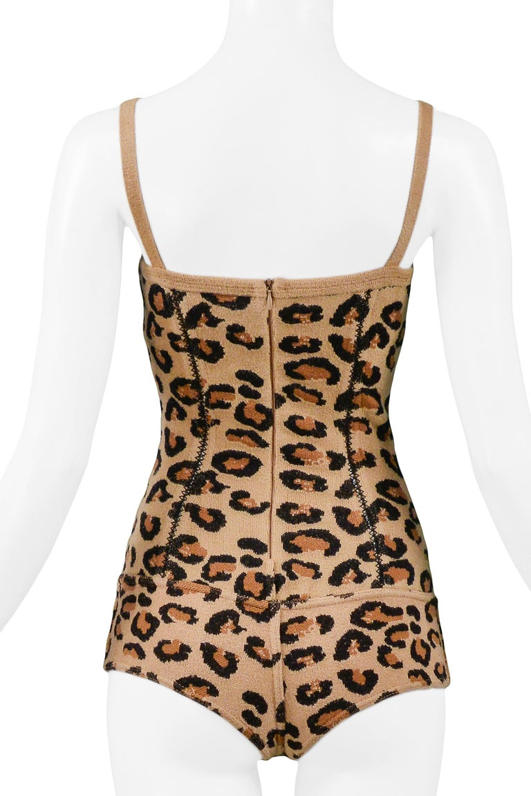 Women's or Men's Iconic Vintage Azzedine Alaia Leopard Bodysuit   1991 Runway Collection