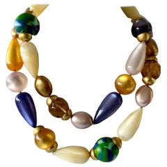 Iconic Vintage  Chanel Architectural Colorful Bead Statement Necklace