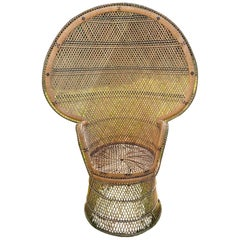 Iconic Vintage Wicker and Woven Rattan Peacock Chair